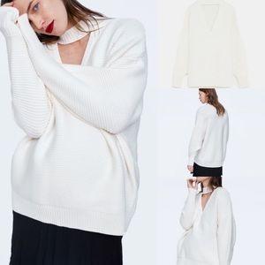 NWT Zara knit choker cut out oversized sweater l
